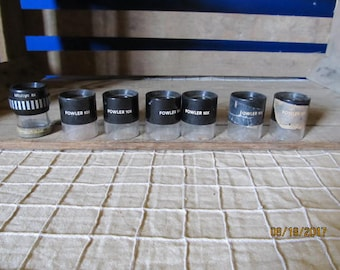 6 Vintage Fowler 10x Pocket Optical Comparators 10X Magnifier Eye Piece & 1 Mitutoyo 8X Piece