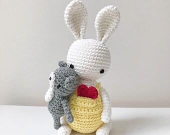 BUNNY crochet amigurumi with teddy bear, crochet toy, gift for kids, bunny gift, bunny lover gift, bunny baby gift, bunny toy