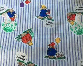 Paddington Bear cotton fabric by Eden Toys - 1995 OOP pattern Royal Blue and White Stripes. 1/2 yd