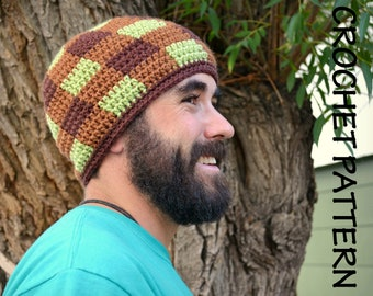 CROCHET HAT PATTERN Adult's Gingham Beanie