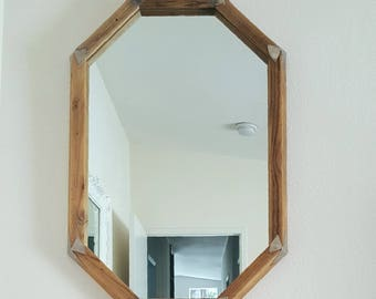 Rustic Barn Wood Framed Mirror. Handcrafted. Large