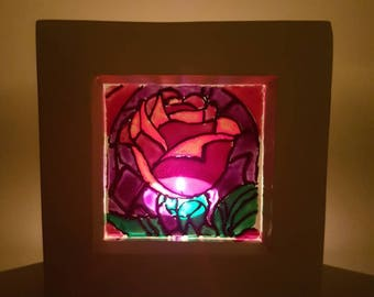 Beauty and the Beast inspired  mini stained glass window