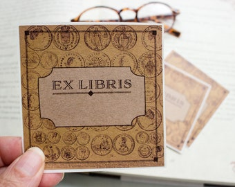 coin bookplates - personalized bookplate stickers - Ex Libris - book plates - custom bookplate - bookworm for him - opaque book label