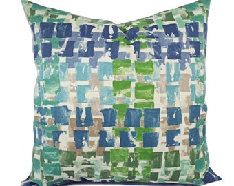Two Outdoor Pillow Covers - Blue and Green Pillows - Patio Pillows - Outdoor Pillows - Blue Pillow Pillow - Green Pillow - Teal Pillow