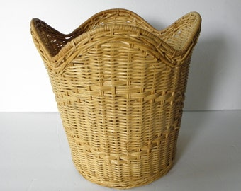 Woven Natural Wicker Basket for plant or trash can