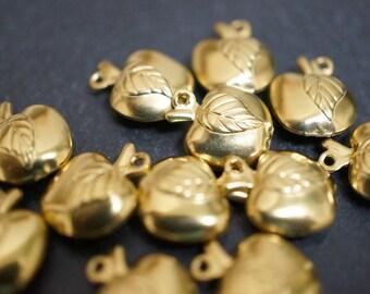 Raw Brass Mini Apple Charms - 12 pcs