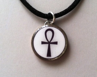 Egyptian Ankh Dime Pendant Charm Necklace Stainless Chain or Satin Cord