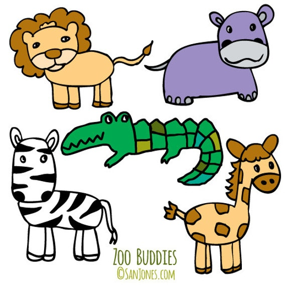 zoo animals clip art hand drawn clipart zoo clipart rh etsy com clip art zoo animals black and white free clipart zoo animals