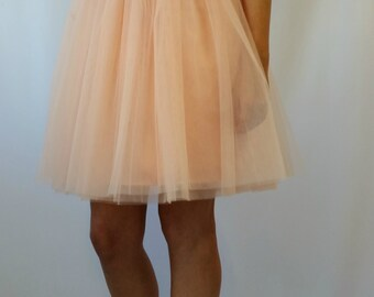 "Peach Women Tulle Skirt, Knee length Tutu Skirt, Princess Skirt,  Wedding Skirt - – ""Choose to be me' / EXPRESS SHIPPING / MD10017"