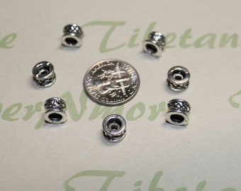 24 pcs per pack 7x5mm Rondelle Spacer Bead Textured Antique Silver Finish Lead Free Pewter
