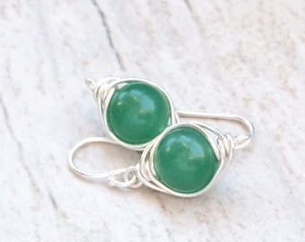 Green Aventirine Earrings, Green Dangle Earrings, Sterling Silver Earrings