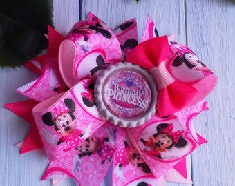 Girls Hair Bows Minnie Mouse Hair Bow Birthday Hair Bow Pink Hair Bows Pink Bow Hair Clip Bow Birthday Headband Birthday Gift for Doughter
