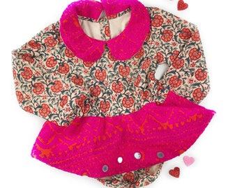 3T, Ready to ship skirted romper, Boho dress, hippie baby dress, bohemian baby romper, toddler romper, moonchild
