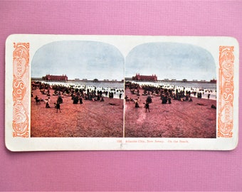 Atlantic City Antique Stereograph Card New Jersey Beach Stereo View Card Color World Series #105 On the Beach Kawin Vintage Stereoview Card