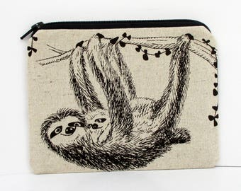 Sloth Zippered Pouch, Mama Baby Sloth Bag, Natural Cotton Linen, Small Coin Purse