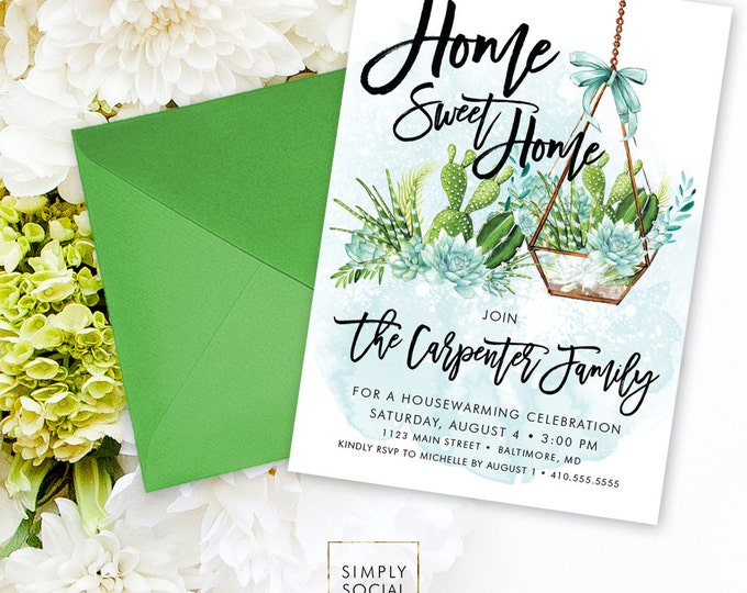 Housewarming Party Invitation - Succulent Terrarium Boho Party New Home Home Sweet Home Modern Calligraphy Invitation Printable