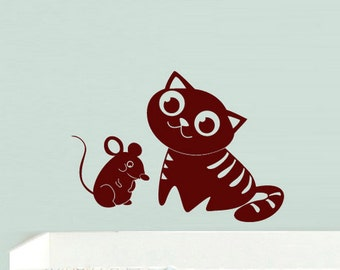 Cat Wall Decals Cat wall Sticker cat wall decal sticker cat wall decals removable cat wall decals (Z528)