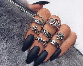 20 Pieces Black Stiletto Glue On Nails