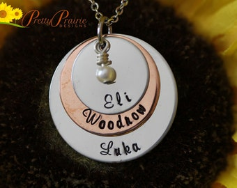 Stacked Disc Necklace - Silver Pendant Personalized Jewelry - Mother's Day Gift Idea - Child's Name Necklace - Family Necklace
