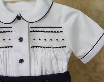 Heirloom, Smocked button-up shirt for baby boys, White smocked boys suit, Classic shirt, Hand smocked shirt