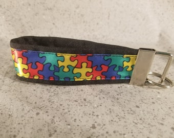 Autism Awareness Puzzle Ribbon Keychain