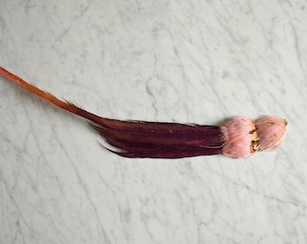 Feather Hair Accessory, Edwardian Hair Accessory, Pink 20s Feather Hair Accessory, Millinery Supplies, Vintage Hat Feathers, 1910 Hairstyles