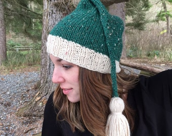 Northwest Elf/Knitting Pattern/Instant DOWNLOAD PDF/Bulky and Worsted Pattern/Elf Hat/Icord and Tassel/Unisex Holiday Hat/2 Patterns in 1