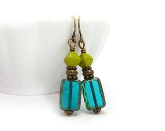 Teal Blue Earrings - Picasso Rectangle Glass - Lime Green - Yoga Earrings - Boho Drop Dangle Earrings