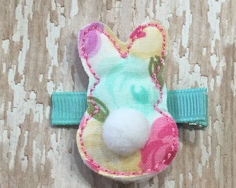 Aqua Pink Floral Fabric Easter Rabbit Bunny Spring Felt Hair Clippie Babies-Toddlers-Girls