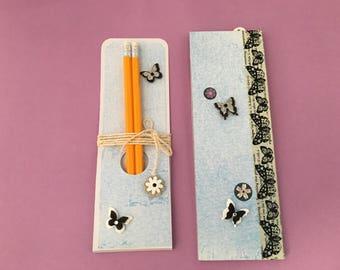 Notepad & pencil set, notepad gift, teacher gifts, butterfly notebook, butterfly lover gifts, butterfly notepad, handbag notebook, butterfly