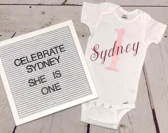 1st birthday girl outfit, 1st birthday girl, birthday girl onesie, birthday onesie, personalized onesie, custom onesie, 1st birthday, girl,