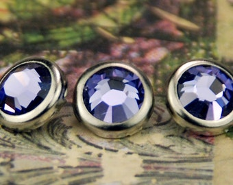 10 Tanzanite Crystal Hair Snaps - Round Silver Rim Edition -- Made with Swarovski Crystal Element Rhinestones