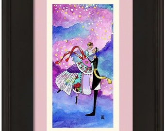 Jewish wedding gift 'Dancing on Air' Art **ORIGINAL Romantic Judaica wall art