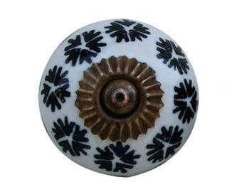 Ceramic Cabinet Knob with Black Floral Design