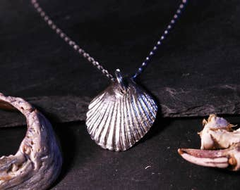 Solid Silver Seashell Necklace -Scallop