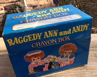 Vintage Raggedy Ann and Andy Metal Crayon Box from J. Chein and Company