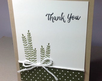Thank You greeting card with green ferns, perfect for everyone