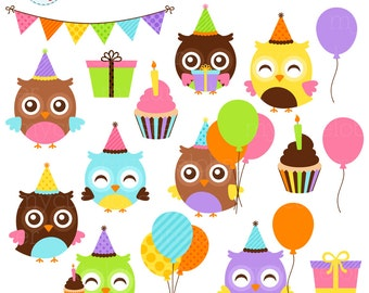 Birthday Owls Clipart Set - party owls clip art set, birthday party, balloons, cake - personal use, small commercial use, instant download