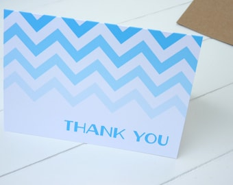 Ombre Chevron Thank You Cards/Personalized Stationery/Personalized Stationary