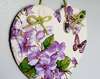 Slate Heart Wall Plaque Hanging Decoration Home Decor Purple Flower Butterflies Housewarming Gift