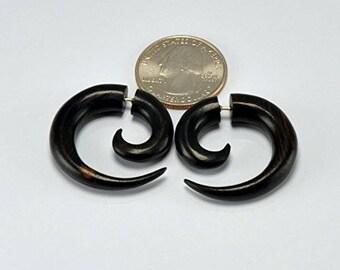 Fake Gauges – Small Spiral Earrings – Arang Wood - Faux Gauges