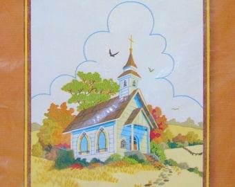 Barbara Jennings  Crewel Embroidery Kit Country Church 1980 Vintage  Design  No 2479 Sunset Stitchery