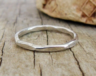 One Silver Stacking Ring, Skinny Sterling Silver Rings, Textured Stackers
