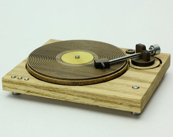 Wood Record Player - Miniature Art Object - Vinyl Record Player - 1980's Old School Style