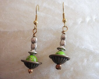 Green Jasper Stone Saucer shaped earrings