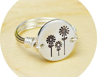 Three Flowers Ring- Hand Stamped Sterling Silver Filled Ring- Any Size- Size 4, 5, 6, 7, 8, 9, 10, 11, 12, 13, 14