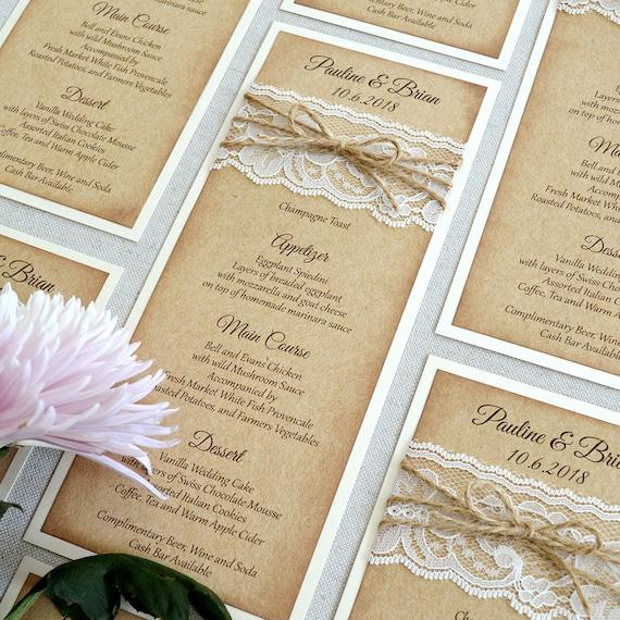 Burlap and Lace Wedding Menu - Rustic Wedding Menu - Natural Kraft Menu with distressed edges - Boho Chic - Country Wedding