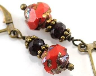 Christmas Earrings. Rustic Red Jewelry Gift. Dangle Drop Earrings. Opaque Red Picasso Rosebud Czech Glass Leverback Earrings