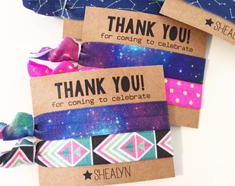 Outer Space Birthday Party Hair Tie Favors | Custom Hair Tie Favors, Personalized Party Favors, Star Wars Outerspace Galaxy Sleepover Party