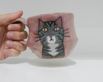 grey tabby cat ceramic mug